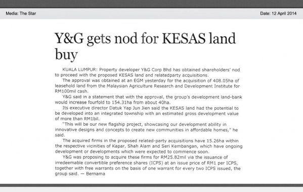Y&G gets nod for KESAS land buy