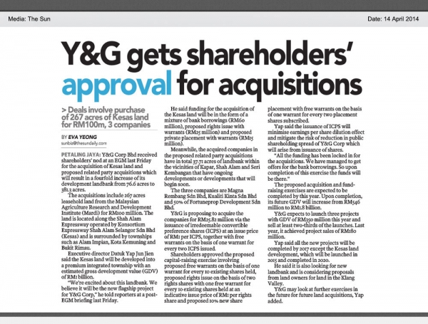 Y&G gets shareholders's approval for acquisitions